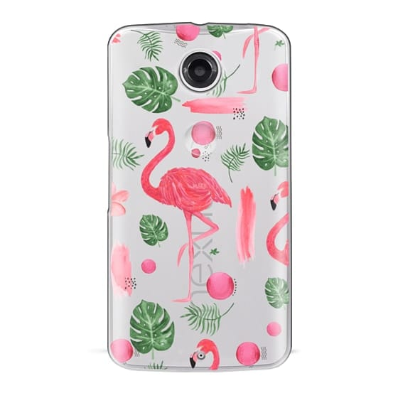 Nexus 6 Cases - Elegant hot pink watercolor tropical flamingo floral