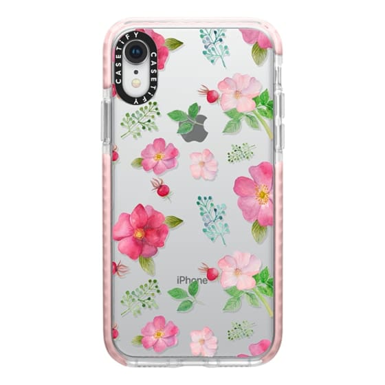 iPhone XR Cases - Botanical pink country roses hip floral pattern