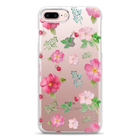 iPhone 7 Plus Cases - Botanical pink country roses hip floral pattern