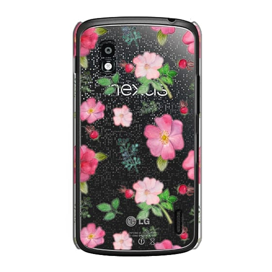 Nexus 4 Cases - Botanical pink country roses hip floral pattern