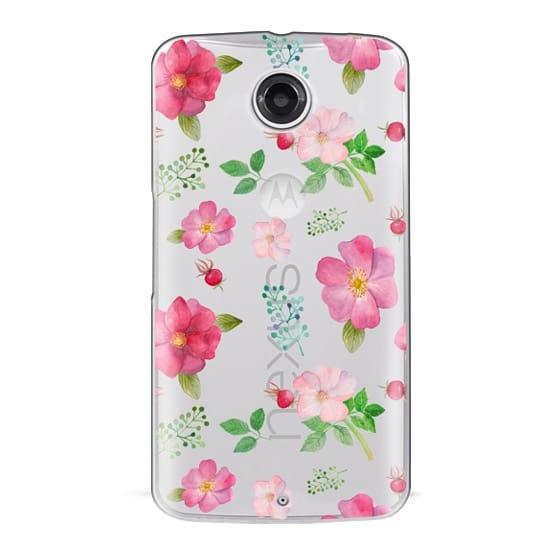 Nexus 6 Cases - Botanical pink country roses hip floral pattern