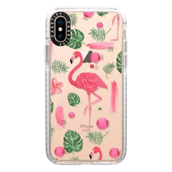 iPhone XS Cases - Elegant hot pink watercolor tropical flamingo floral