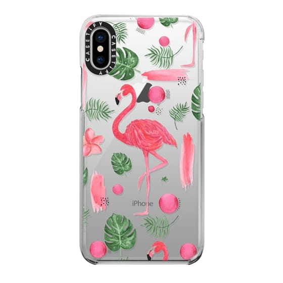 iPhone X Cases - Elegant hot pink watercolor tropical flamingo floral