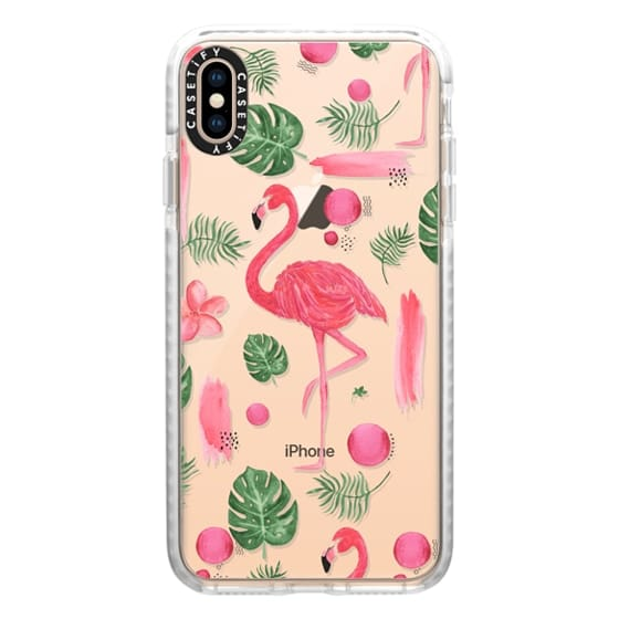 iPhone XS Max Cases - Elegant hot pink watercolor tropical flamingo floral