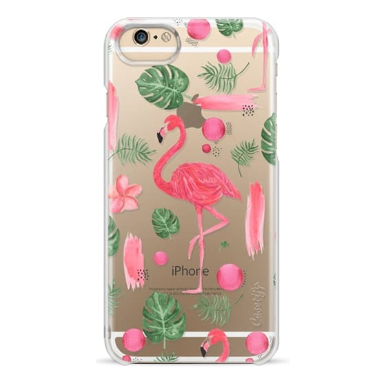 iPhone 6 Cases - Elegant hot pink watercolor tropical flamingo floral