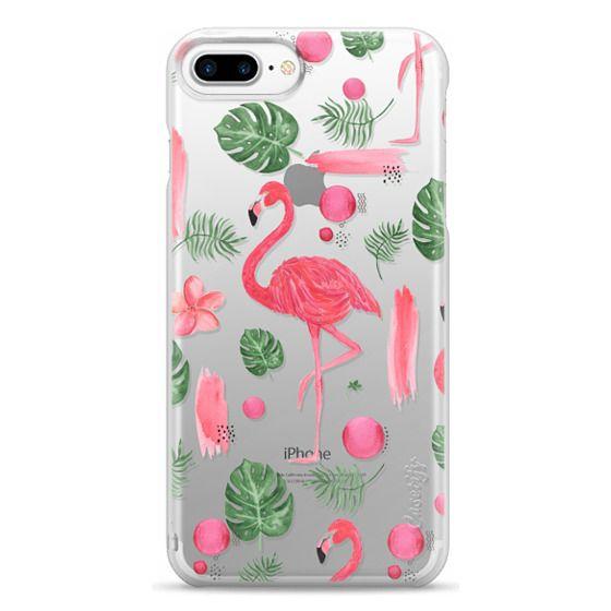 iPhone 7 Plus Cases - Elegant hot pink watercolor tropical flamingo floral