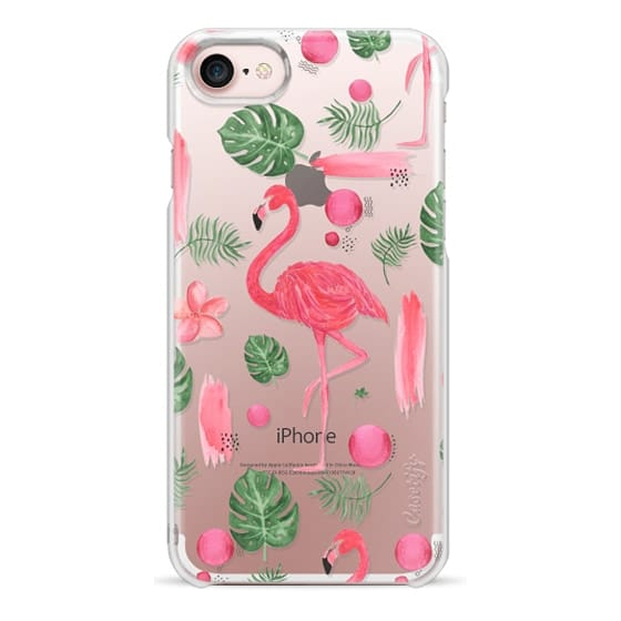 iPhone 7 Cases - Elegant hot pink watercolor tropical flamingo floral