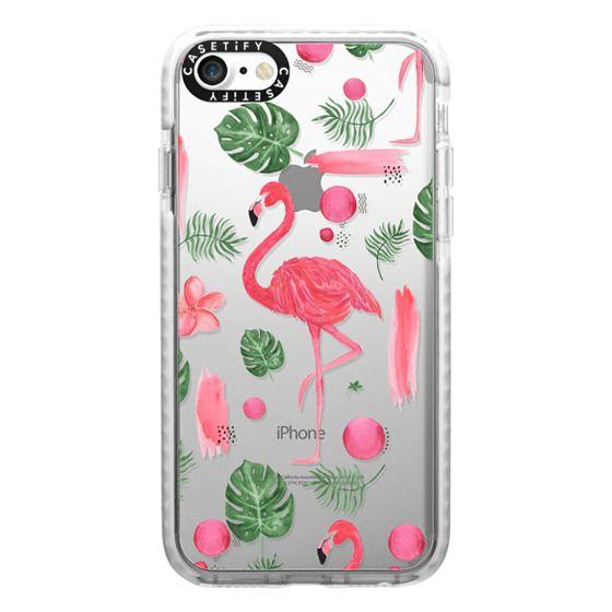 iPhone 7 Cases - Elegant hot pink watercolor tropical flamingo floral