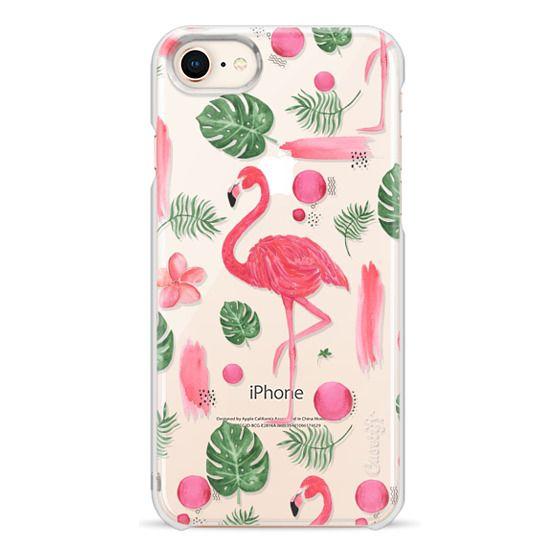 iPhone 8 Cases - Elegant hot pink watercolor tropical flamingo floral