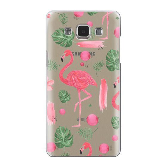 Samsung Galaxy A5 Cases - Elegant hot pink watercolor tropical flamingo floral