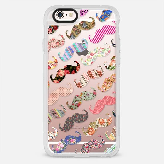 Funny Whimsical vintage floral mustache pattern - New Standard Case
