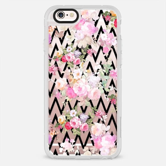 Chic vintage pastel pink roses flowers black chevron pattern - New Standard Case