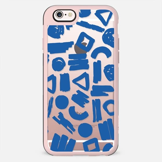 Modern blue white watercolor brushstrokes shapes