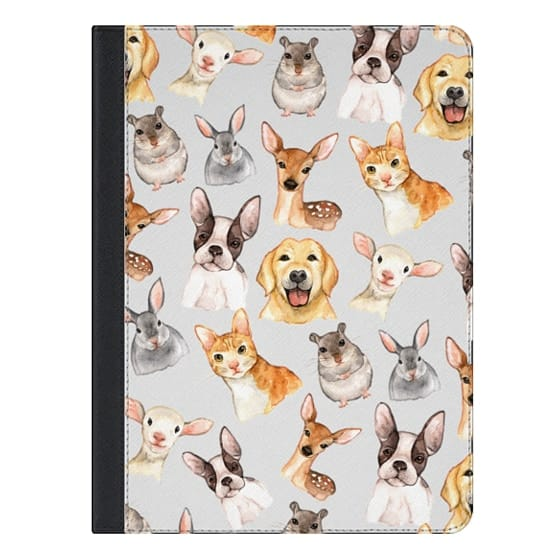 9.7-inch iPad Covers - Watercolor brown black golden hand painted animals