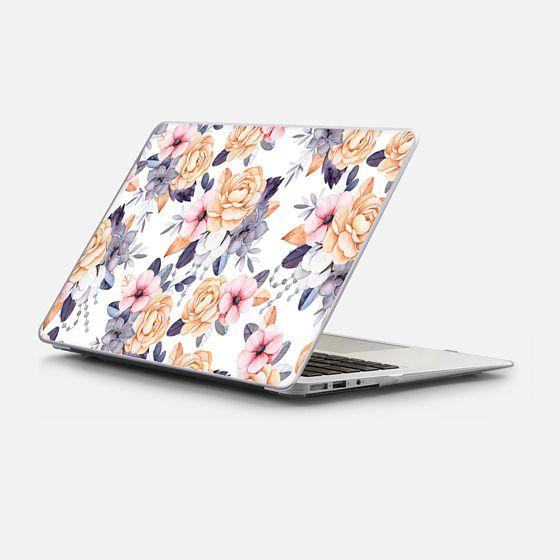 Macbook Air 13 Case - Blush pink purple orange hand painted watercolor floral