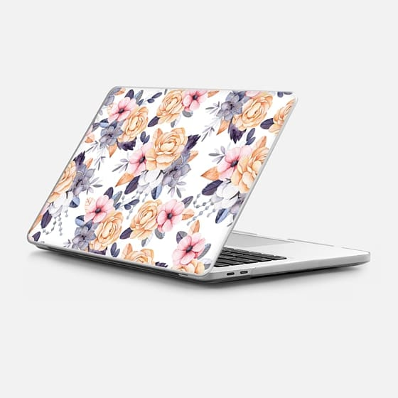 Macbook Pro 15-inch (2016 - 2017) 保護殼 - Blush pink purple orange hand painted watercolor floral
