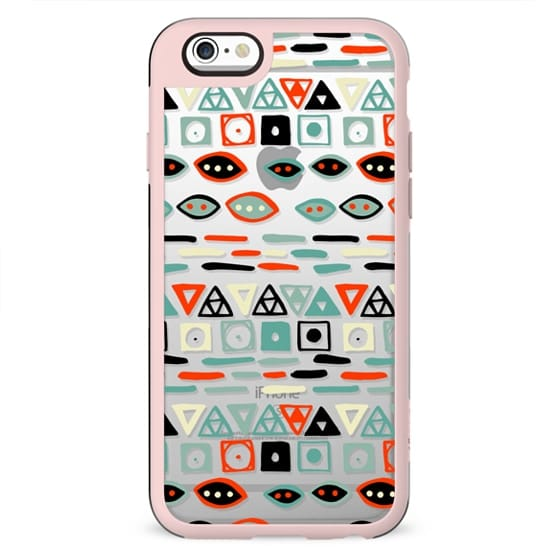 Geometrical modern pastel green ivory red hand painted pattern