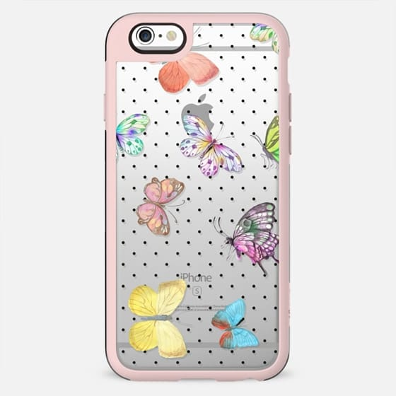 Colorful pink teal watercolor hand painted butterfly polka dots - New Standard Case