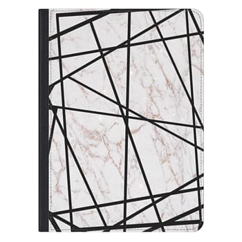 iPad Pro 12.9-inch Case - Geometrical black gold faux glitter white marble