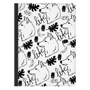 iPad Pro 12.9-inch Case - Black white hand drawn wolf floral typography