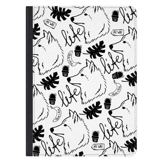 12.9-inch iPad Pro Covers - Black white hand drawn wolf floral typography