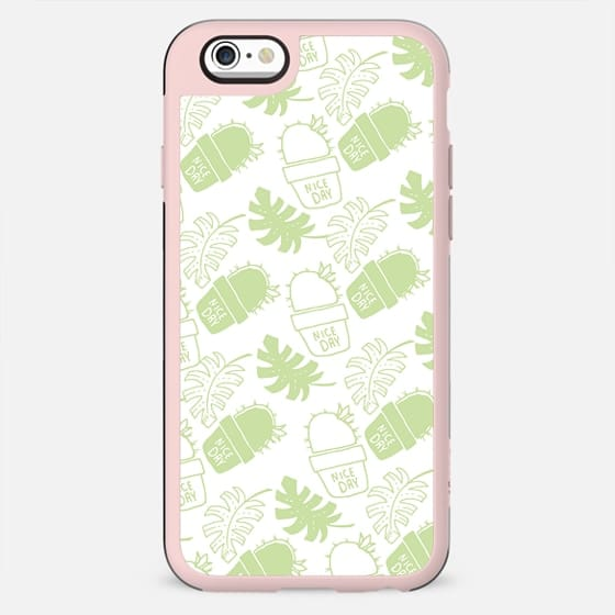 Hand painted mint green floral cactus tropical leaves typo - New Standard Case