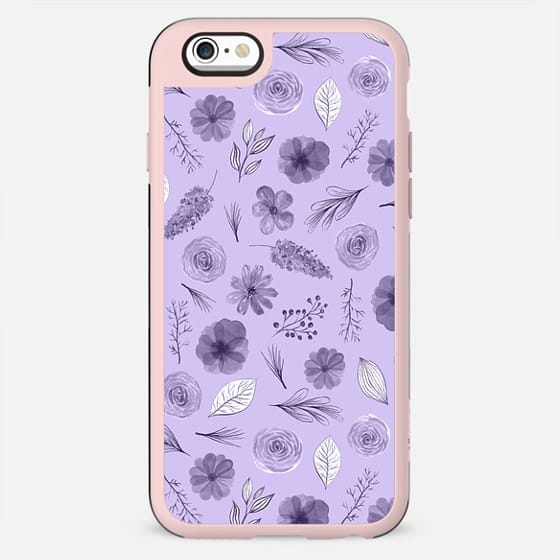 Hand painted violet white watercolor modern floral pattern