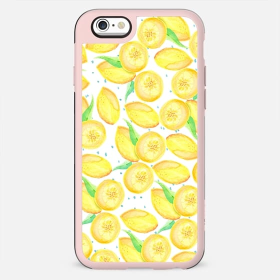 Sushine yellow orange blue watercolor lemon fruit pattern - New Standard Case