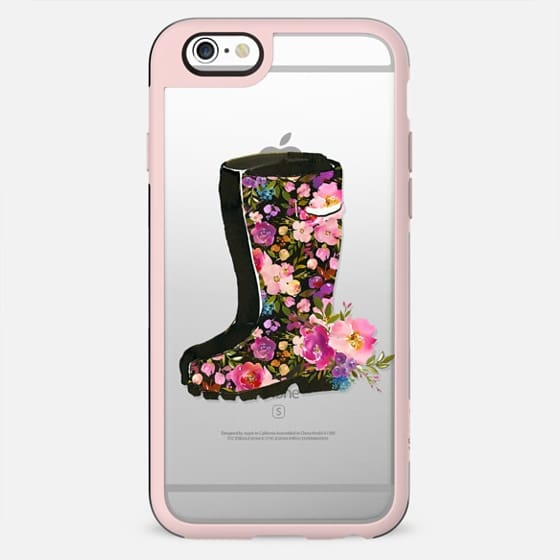 Boho pink lilac watercolor rubber boots floral - New Standard Case