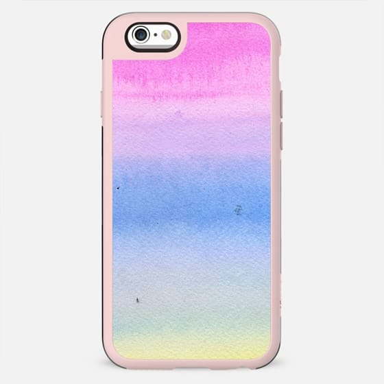 Hand painted pink blue yellow  ombre watercolor paint