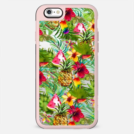 Tropical red yellow orange watercolor pineapple fruit floral