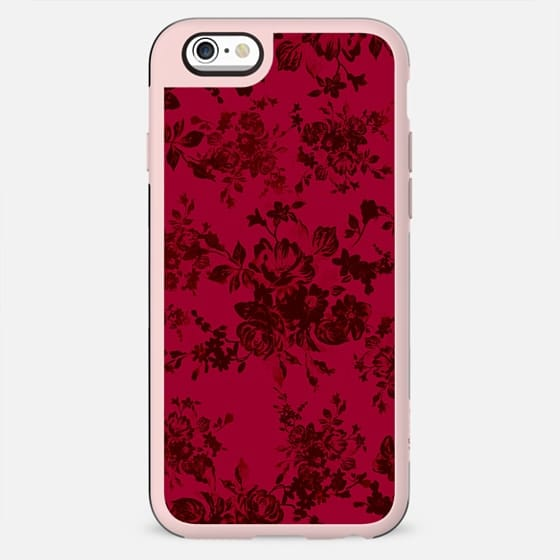 Vintage black gray red bohemian floral pattern - New Standard Case