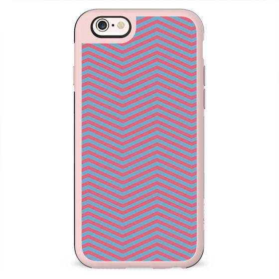 Modern pink blue geometric chevron pattern