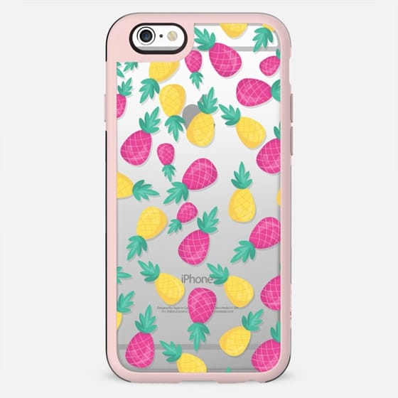 Pink yellow hand painted tropical pineapple pattern