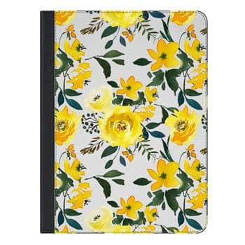 iPad Pro 9.7 Case - Hand painted modern yellow green watercolor floral