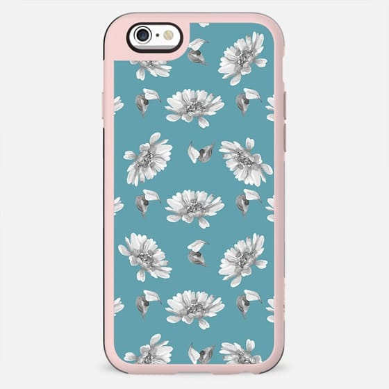 Hand painted gray white watercolor floral daisies