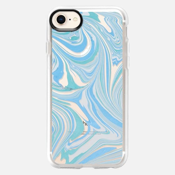 Pastel blue green white modern chic marble - Snap Case