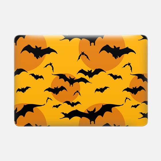 Black orange yellow halloween bats pattern -