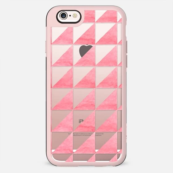 Modern geometrical hand painted pink watercolor triangles - New Standard Case