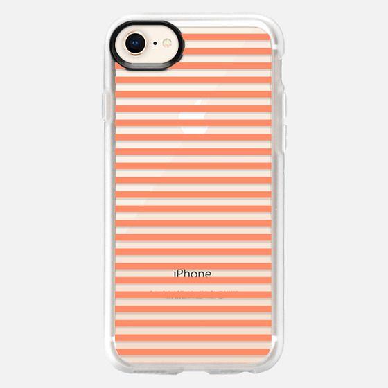 Trendy coral white pastel color modern stripes - Snap Case