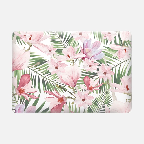 Macbook Air 13 保护壳 - Blush pink lavender green watercolor tropical floral