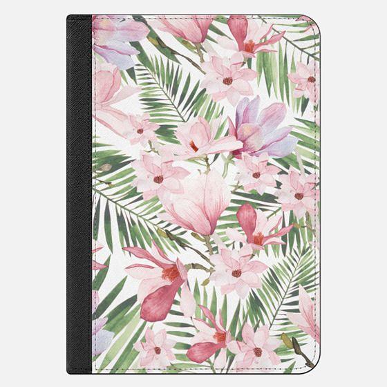 Blush pink lavender green watercolor tropical floral - iPad Folio Case