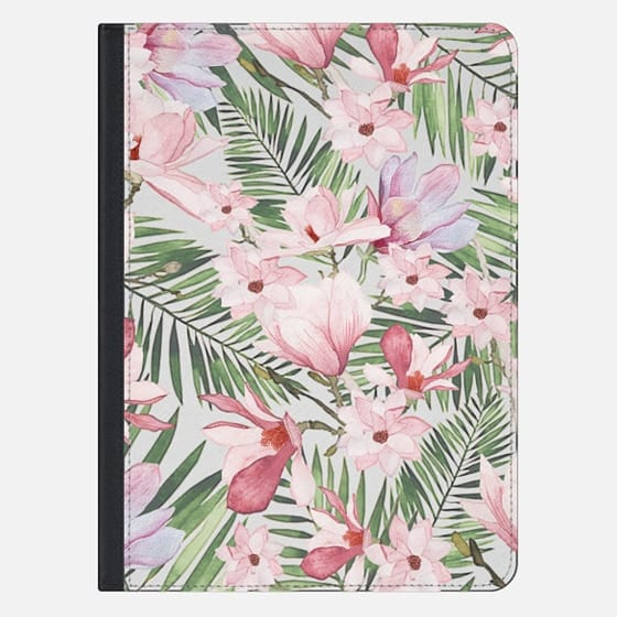 Blush pink lavender green watercolor tropical floral - iPad Pro Sleeve
