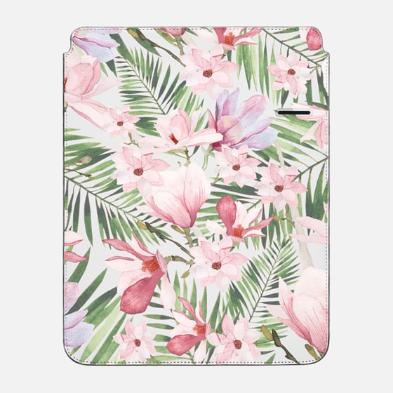 "iPad Pro 12.9"" กระเป๋า - Blush pink lavender green watercolor tropical floral"