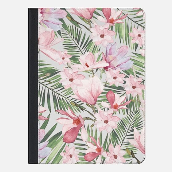 Blush pink lavender green watercolor tropical floral - iPad Folio Case
