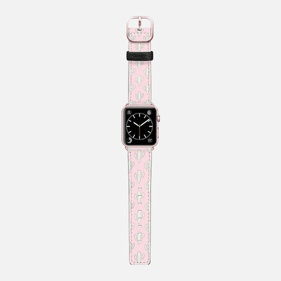 Modern blush pink faux gold cute cactus floral - Saffiano Leather Watch Band