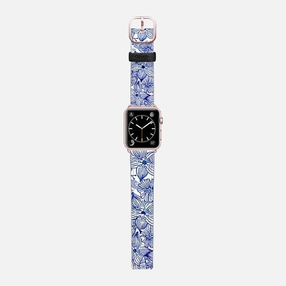Hand painted royal blue white watercolor floral - Saffiano Leather Watch Band
