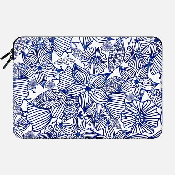 Hand painted royal blue white watercolor floral -