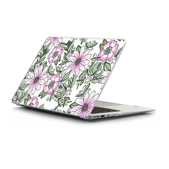 Macbook Air 13 保护壳 - Blush pink green watercolor hand painted floral