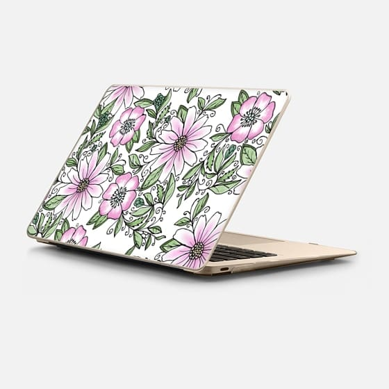 Macbook 12 Case - Blush pink green watercolor hand painted floral
